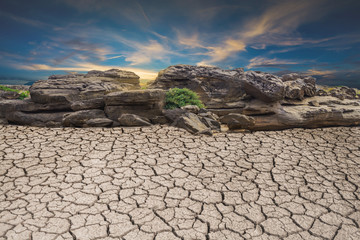 ground soil desert broken drought stone, landscape cloud and blue sky Wall mural