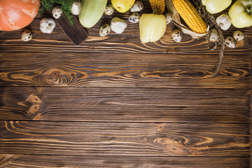 ThanksgivingWooden table with vegetables on top