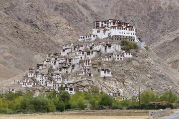 Himalayan mountains and Chemrey gompa, Buddhist monastery in Ladakh, India