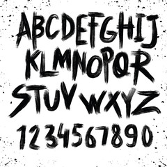 Alphabet poster, dry brush ink artistic modern calligraphy print. Handdrawn trendy design