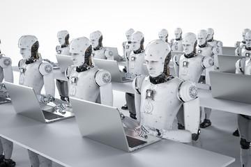 robots work on laptop