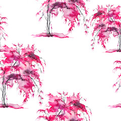 Watercolor seamless pattern, background with vintage pattern. Pink bush, tree, beautiful landscape in pink color. On a white background. Stylish fashion illustration.