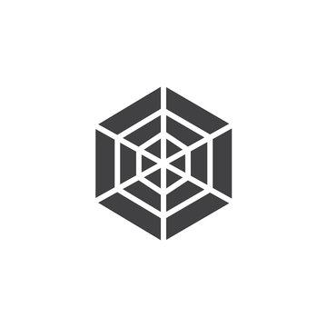 Spider web icon vector, filled flat sign, solid pictogram isolated on white. Cobweb symbol, logo illustration.