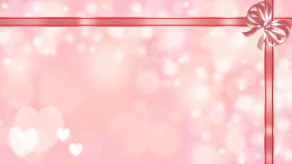 リボンで結ばれたギフトの背景 (バレンタインデー、誕生日 、クリスマス )