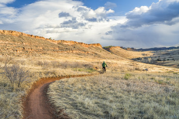 riding fat bike in Colorado foothills