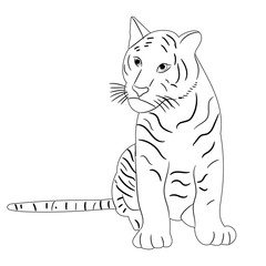 vector, isolated sketch of a tiger sitting