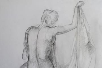 Sketch of a woman with no clothes from behind