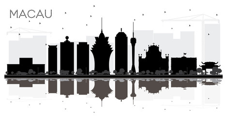 Macau China City Skyline Black and White Silhouette with Reflections.