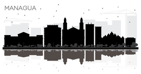 Managua Nicaragua City Skyline Black and White Silhouette with Reflections.