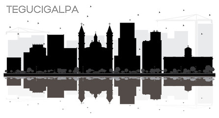 Tegucigalpa Honduras City Skyline Black and White Silhouette with Reflections.