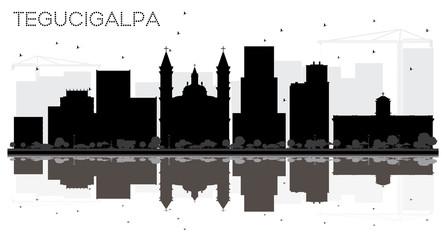 Tegucigalpa Honduras City Skyline Black and White Silhouette with Reflections.