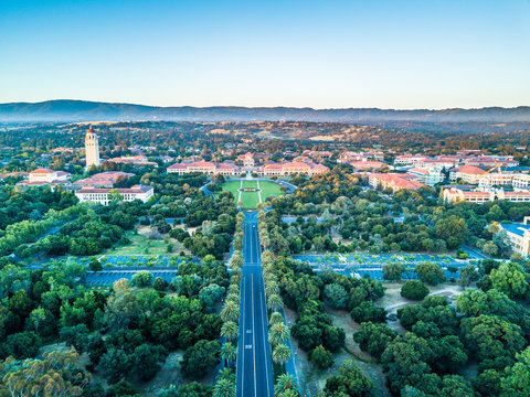 Drone view of Stanford University