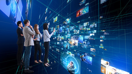 Group of people using futuristic interface. IoT(Internet of Things). ICT(Information Communication Network). Social media.