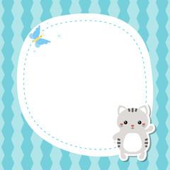 Fond de hotte en verre imprimé Hibou Greeting card with cute cat.