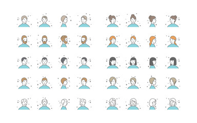 People Avatars Collection Vector. Default Characters Avatar. Cartoon Line Art Illustration