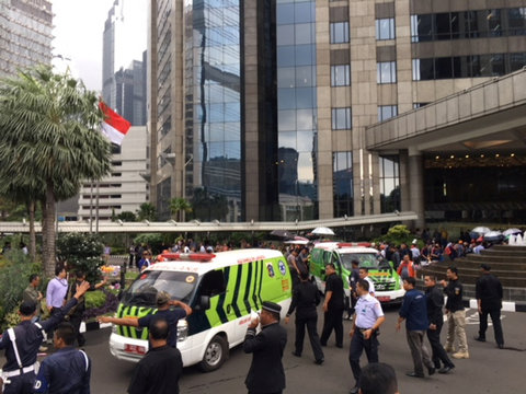 Ambulances are seen following reports of a collapsed structure inside the Indonesian Stock Exchange building Jakarta, Indonesia,