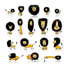 Funny lions set, sketch for your design