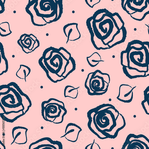 flowers of roses and leaves drawn by hand floral seamless pattern