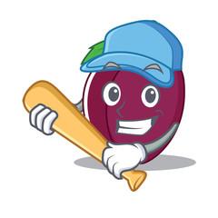 Playing baseball plum character cartoon style