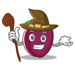 Witch plum mascot cartoon style