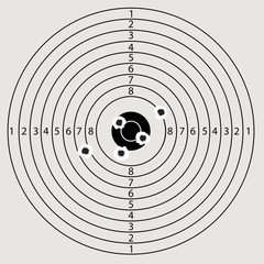Paper target with precise hits in the center vector illustration.