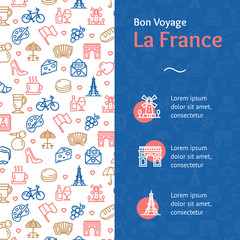 France Travel and Tourism Concept Infographics Banner. Vector