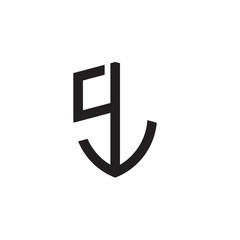 Initial letters line shield shape logo