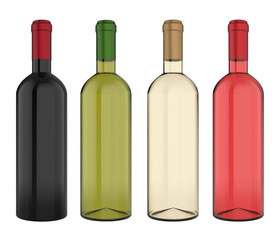 Set of Wine Bottles Isolated