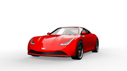 red sports car isolated on white background, 3d render, generic design, non-branded