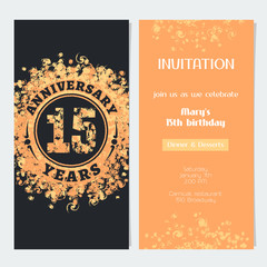 15 years anniversary invitation to celebration event vector illustration