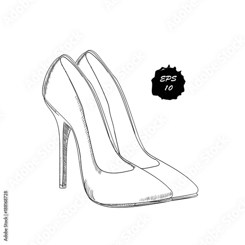 dc4f31f644bd4 illustration of isolated object classical, dess shoes. Drawing graphic  design for woman, girl and lady. Footwear for working dy and holiday.