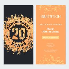 20 years anniversary invitation to celebration event vector illustration