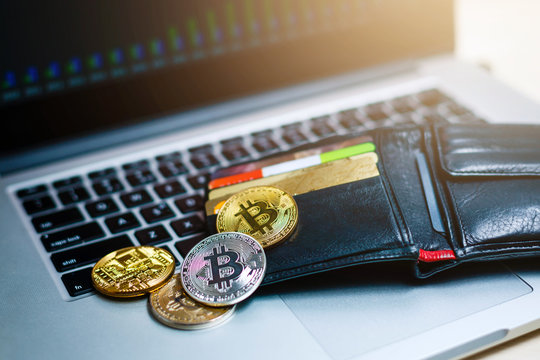 bitcoin laptop wallet Virtual currency wallet bitcoin gold coin and printed encrypted money with qr code cryptocurrency