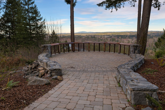 Garden Stone Brick Paver Patio View Deck