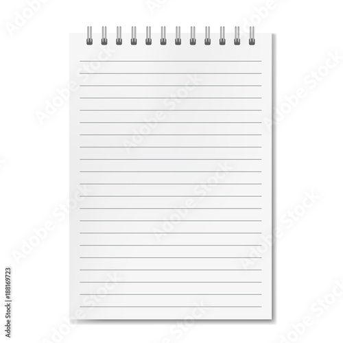 Blank realistic vector vertical lined notebook with shadow template ...