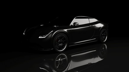 black sports car on black background, 3d render, generic design, non-branded