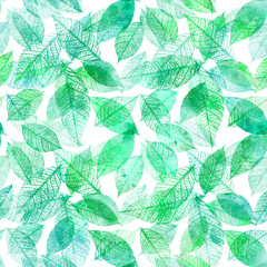 Seamless background pattern of teal and green toned watercolor leaves