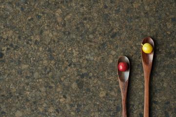 fresh coffee bean on wooden spoon