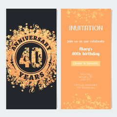 40 years anniversary invitation to celebration event vector illustration