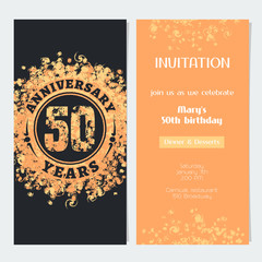 50 years anniversary invitation to celebration event vector illustration