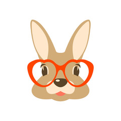 rabbit in glasses vector illustration flat style front