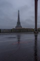 Eiffel Tower from Bir-Hakeim metal bridge in the morning, Paris