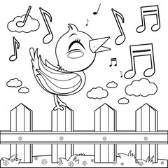 Bird sitting on a fence and singing. Coloring book page
