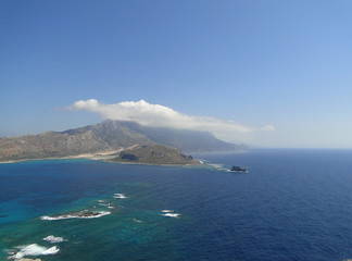 View of the Balos lagoon on the Greek island of Crete