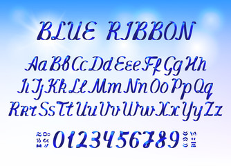 Blue ribbon alphabet letters and numbers on light blue background