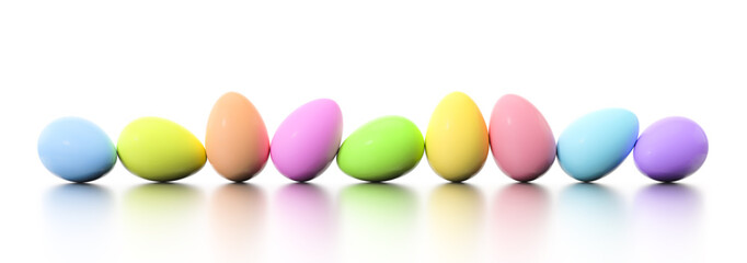 a row of dyed easter eggs