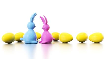 CMYK easter bunny figures