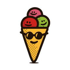 Cartoon ice cream vector illustration