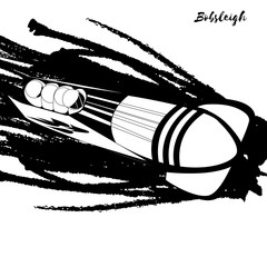 Winter sport. Bobsleigh.  Vector illustration.  Black and white sample. Page for coloring book.