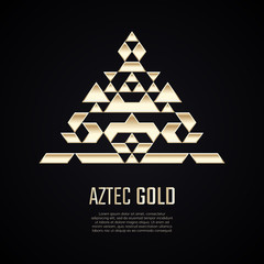 Golden pyramid. Gold triangle shape. Gradient premium logotype. Isolated aztec logo. Business identity concept for jewelry, precious company or jewellery boutique.